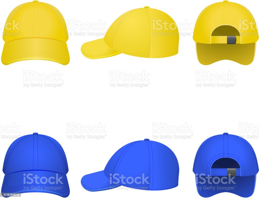 Yellow and Blue Caps vector art illustration