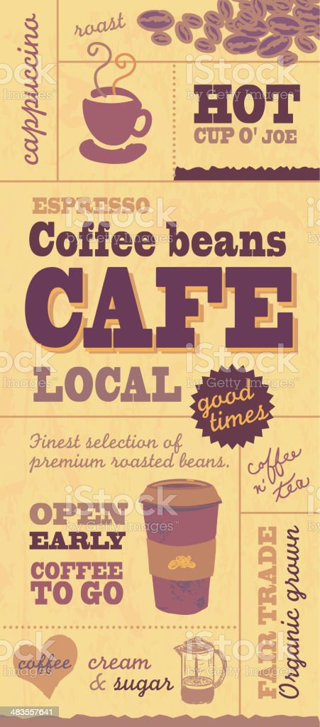 Yellow and brown Coffee themed poster wall banner design template royalty-free stock vector art