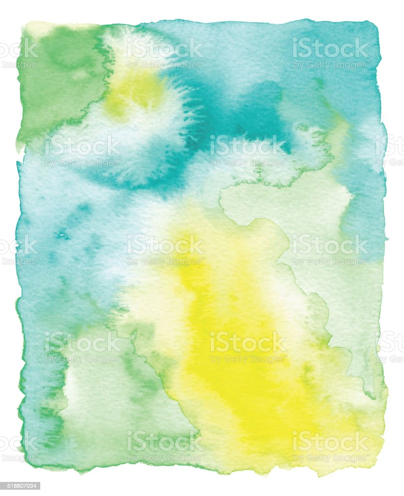 Yellow and Green Watercolor Frame vector art illustration