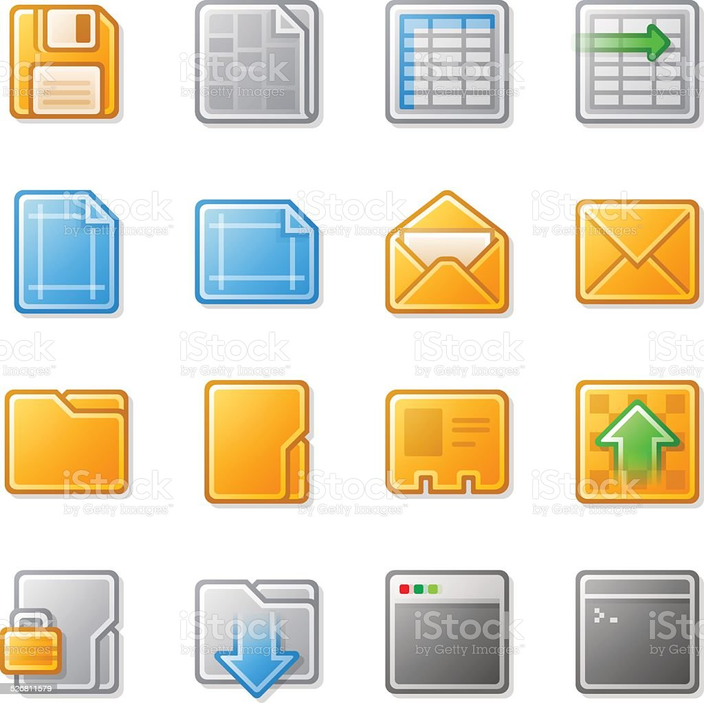 Yellow and Grey Plastic Look Web Icons with Gradient Fill vector art illustration