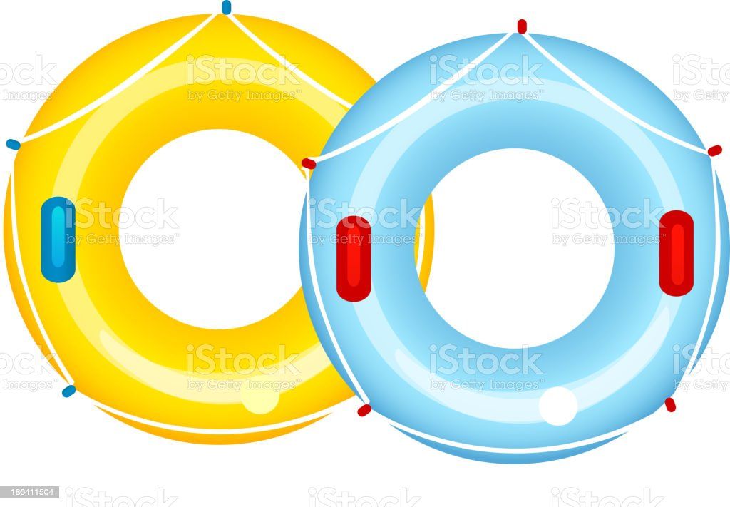 A yellow and light blue inflatable tube vector art illustration