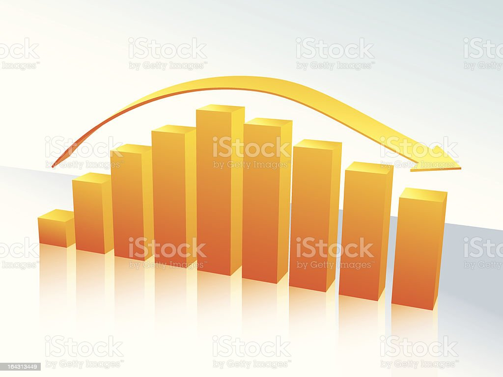 Yellow and orange 3D bar graph with arrow royalty-free stock vector art