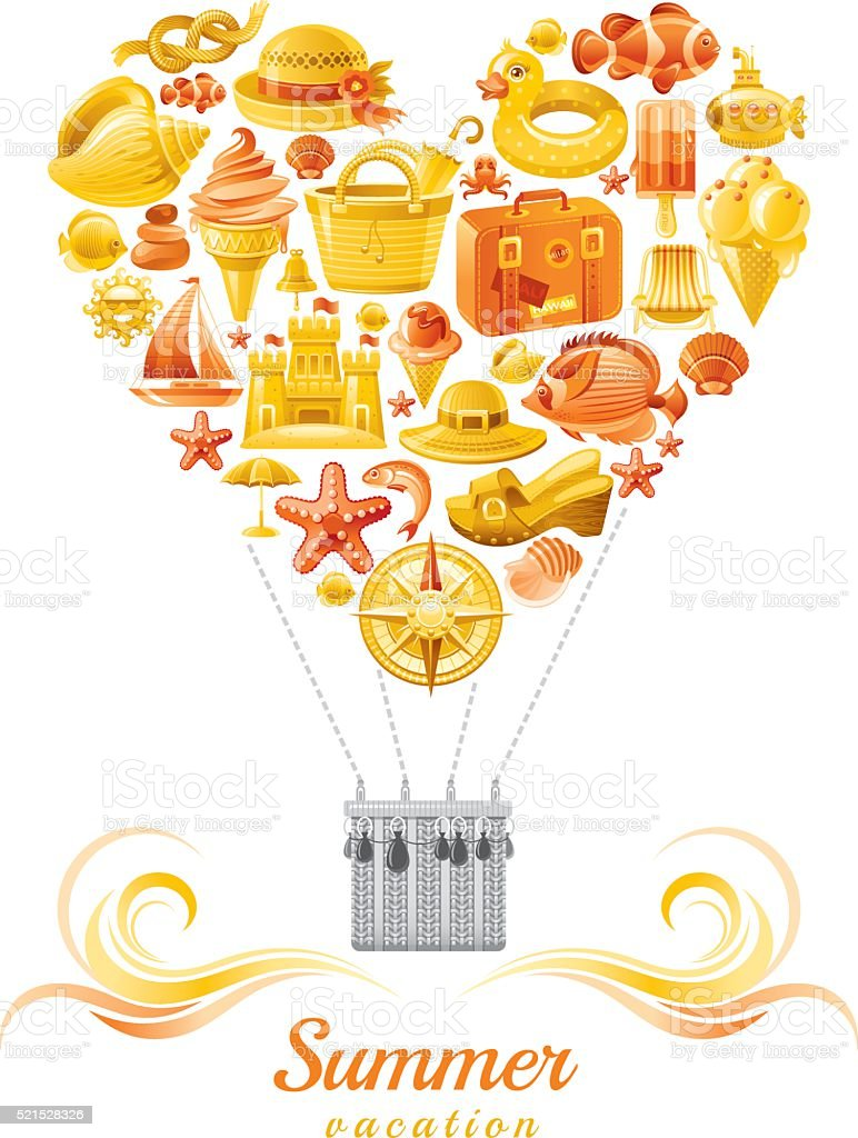 Yellow and orange balloon with sea vacation icons vector art illustration