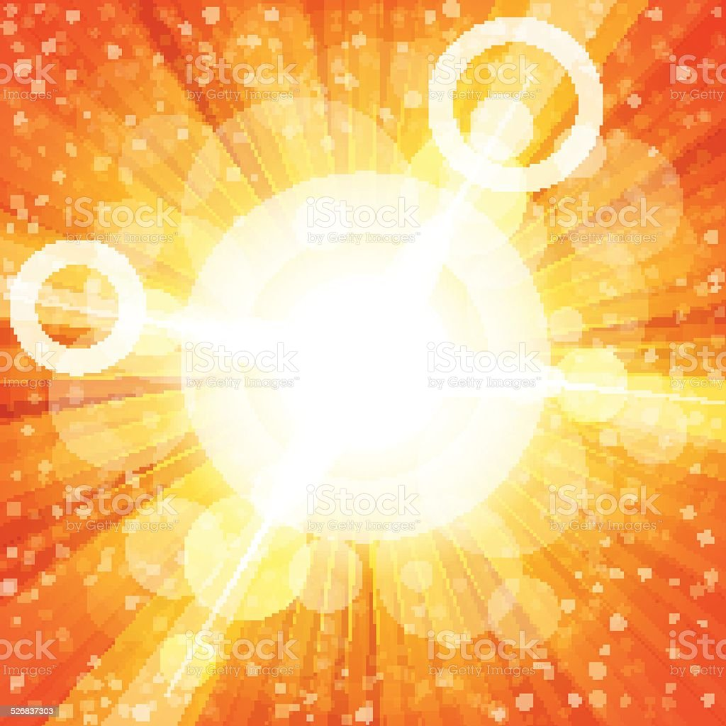 Yellow and orange colorful burst of light with lens flares vector art illustration