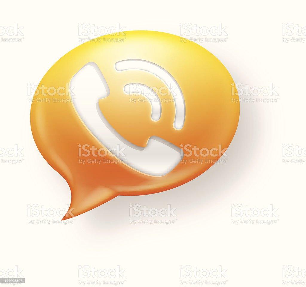 Yellow and orange communication icon on white background vector art illustration