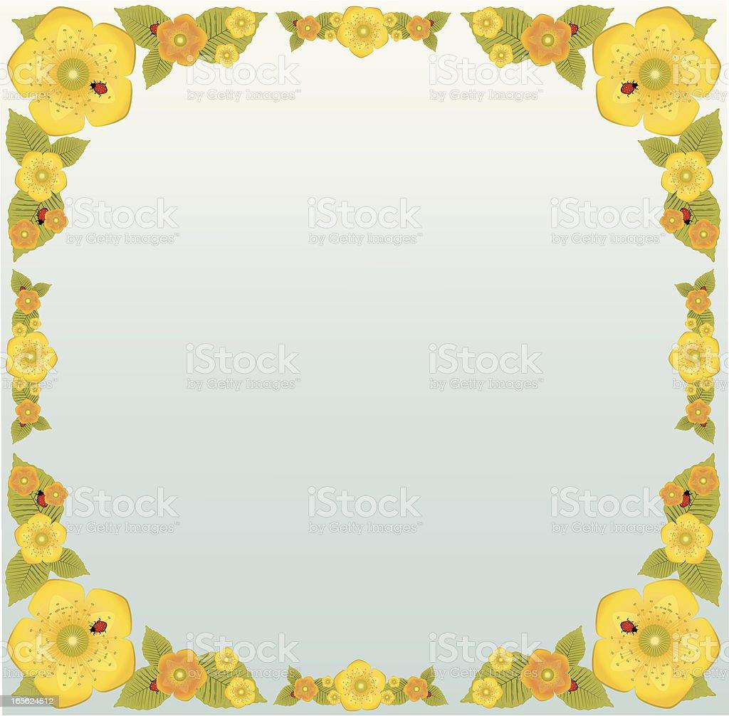 Gelb und Orange Blumen, Blättern, Ladybugs Grenze Design Lizenzfreies vektor illustration