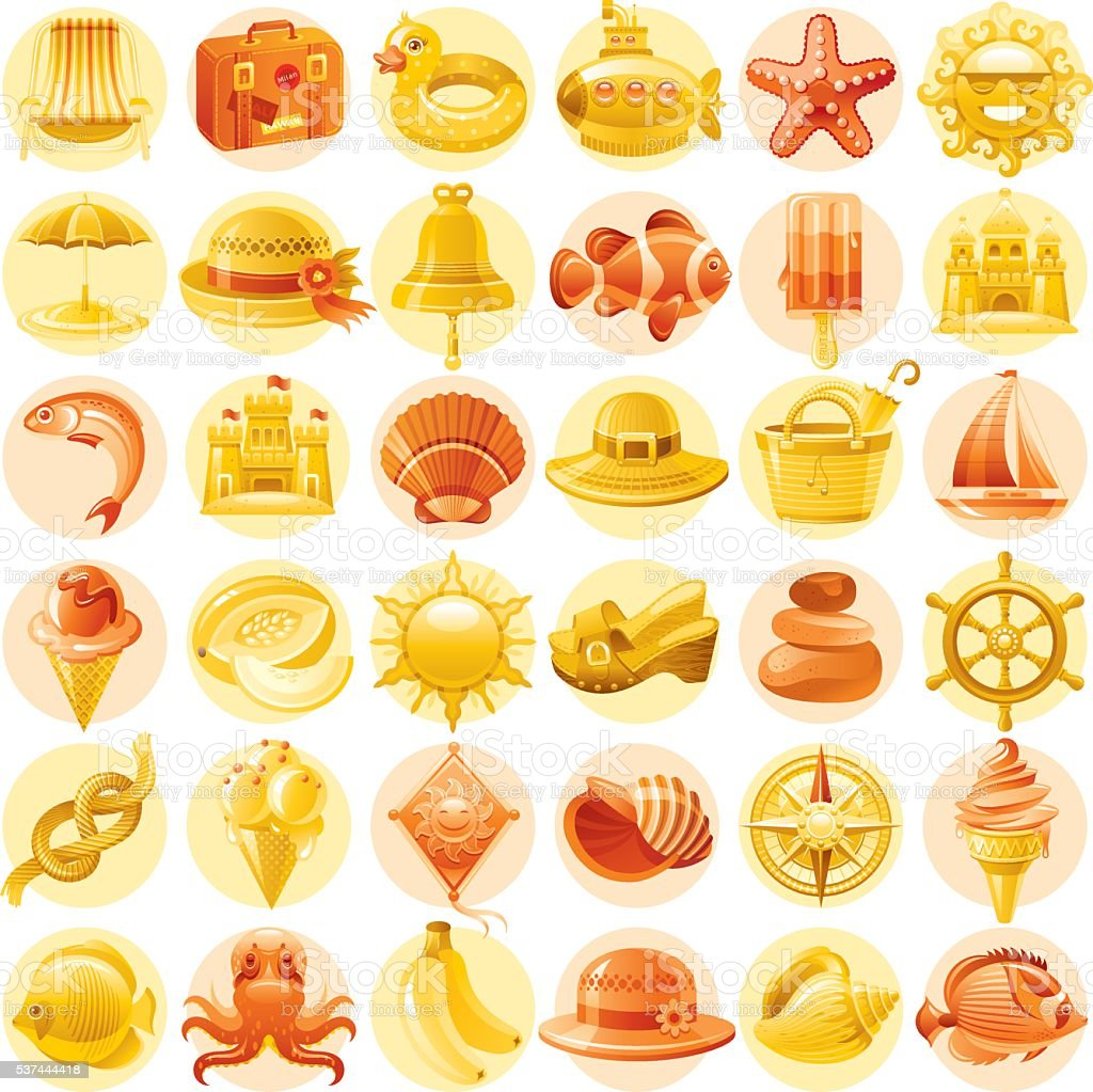 Yellow and orange vacation icons vector art illustration