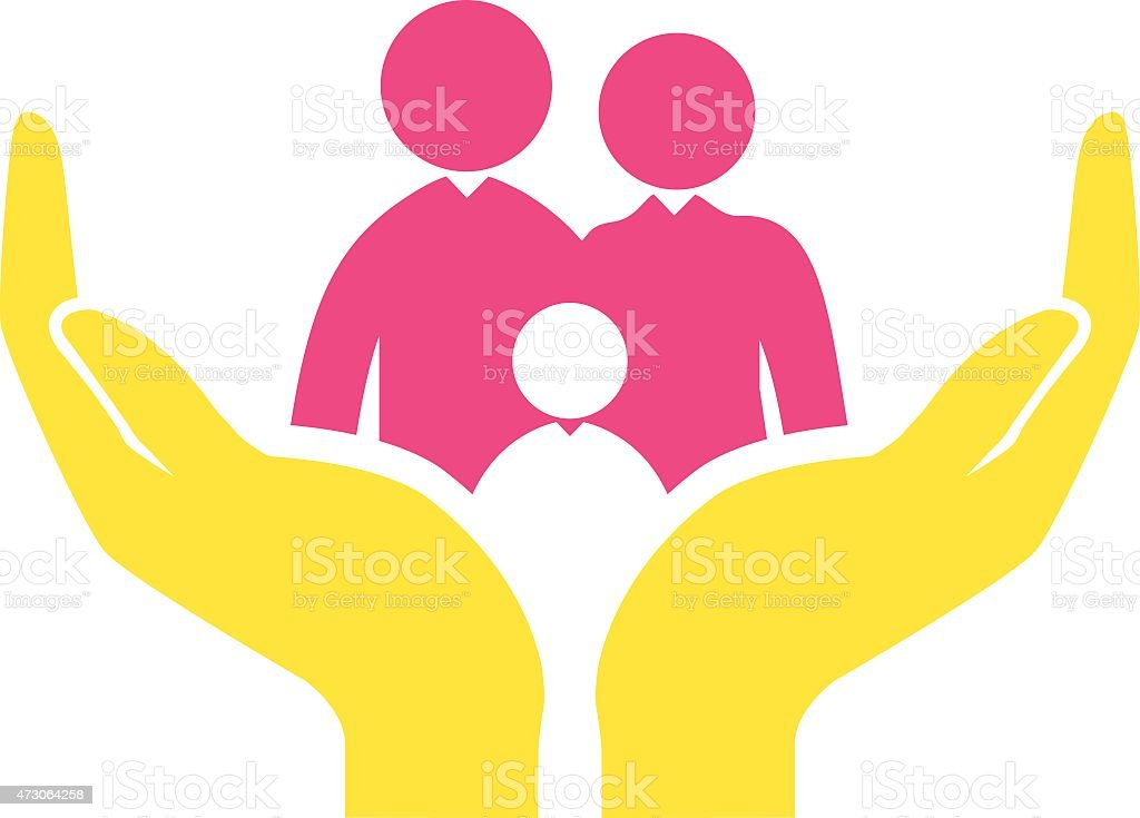 A yellow and pink family protection icon concept vector art illustration