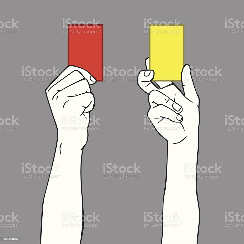 Yellow and Red Card vector art illustration