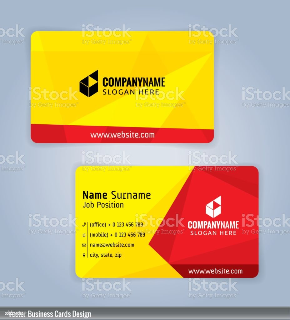 Yellow and red modern business card template vector art illustration