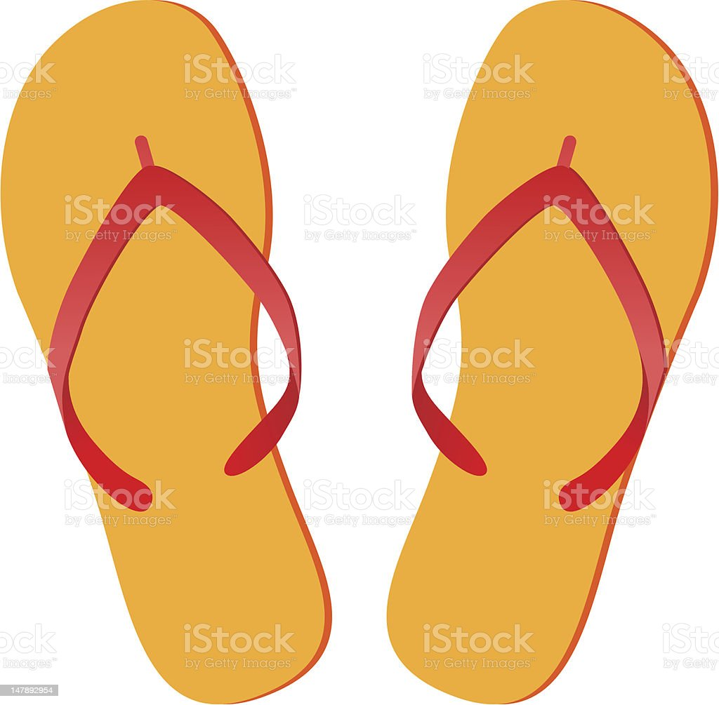 Yellow and red pair of flip flops royalty-free stock vector art
