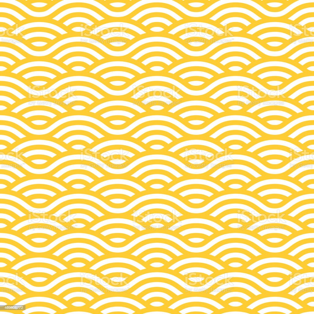 Yellow and white waves seamless pattern vector art illustration