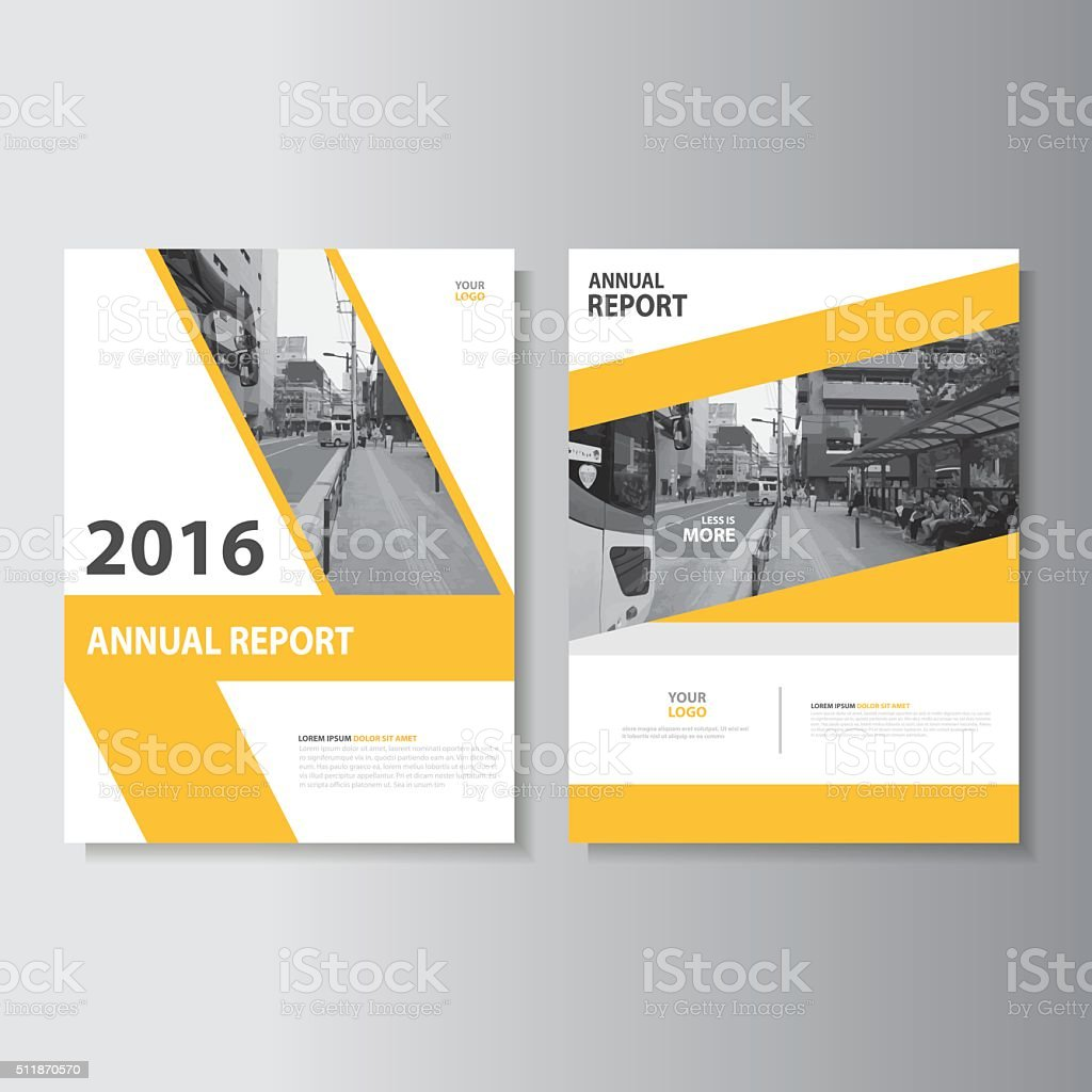 Yellow annual report flyer brochure leaflet template vector design vector art illustration