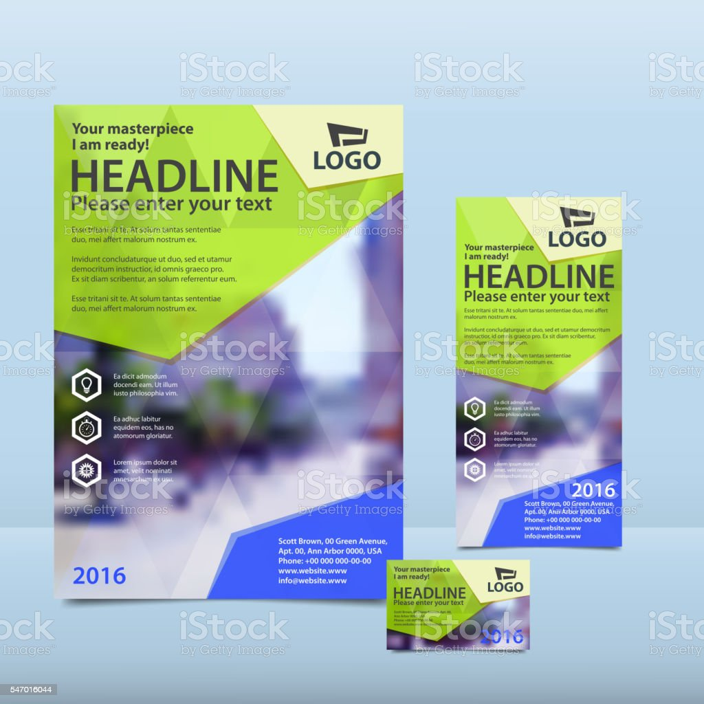Yellow annual report with brochure, flyer and business card vector art illustration
