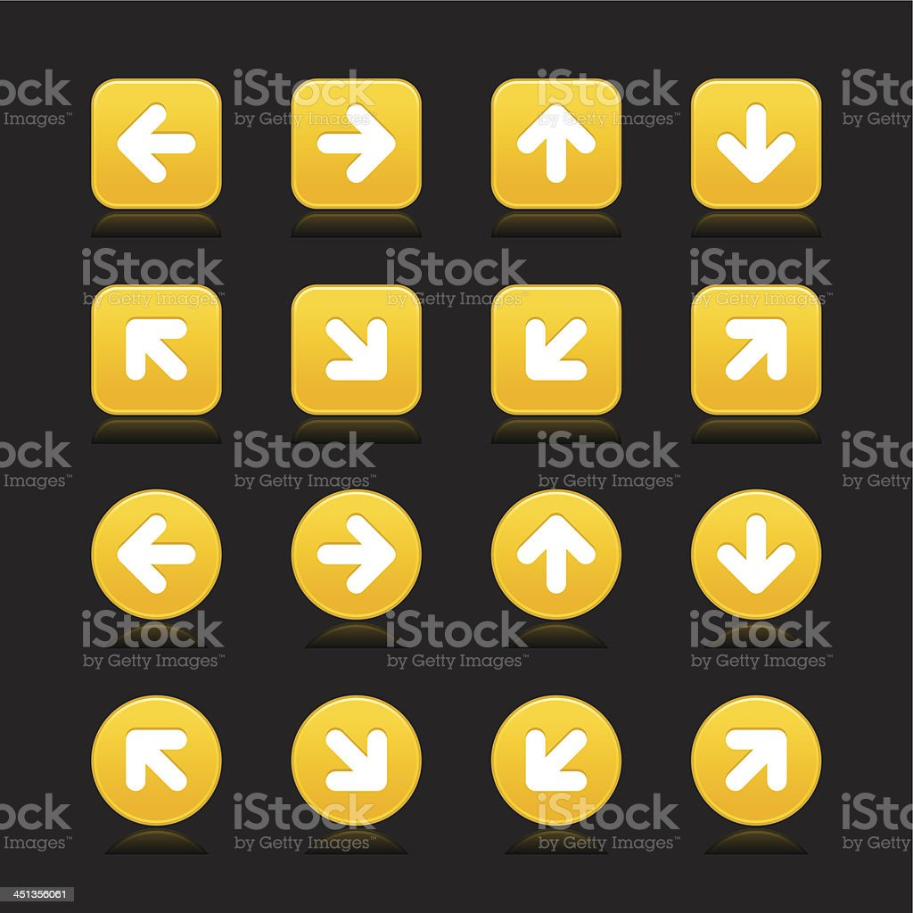 Yellow arrow sign direction icon navigation button square circle shape royalty-free stock vector art