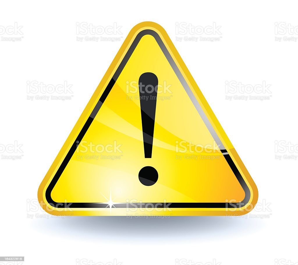 A yellow attention sign with an exclamation point royalty-free stock vector art