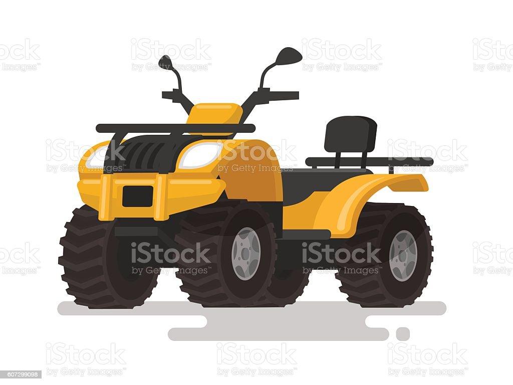 Yellow ATV. Four-wheel all-terrain vehicle. Quad bike vector art illustration