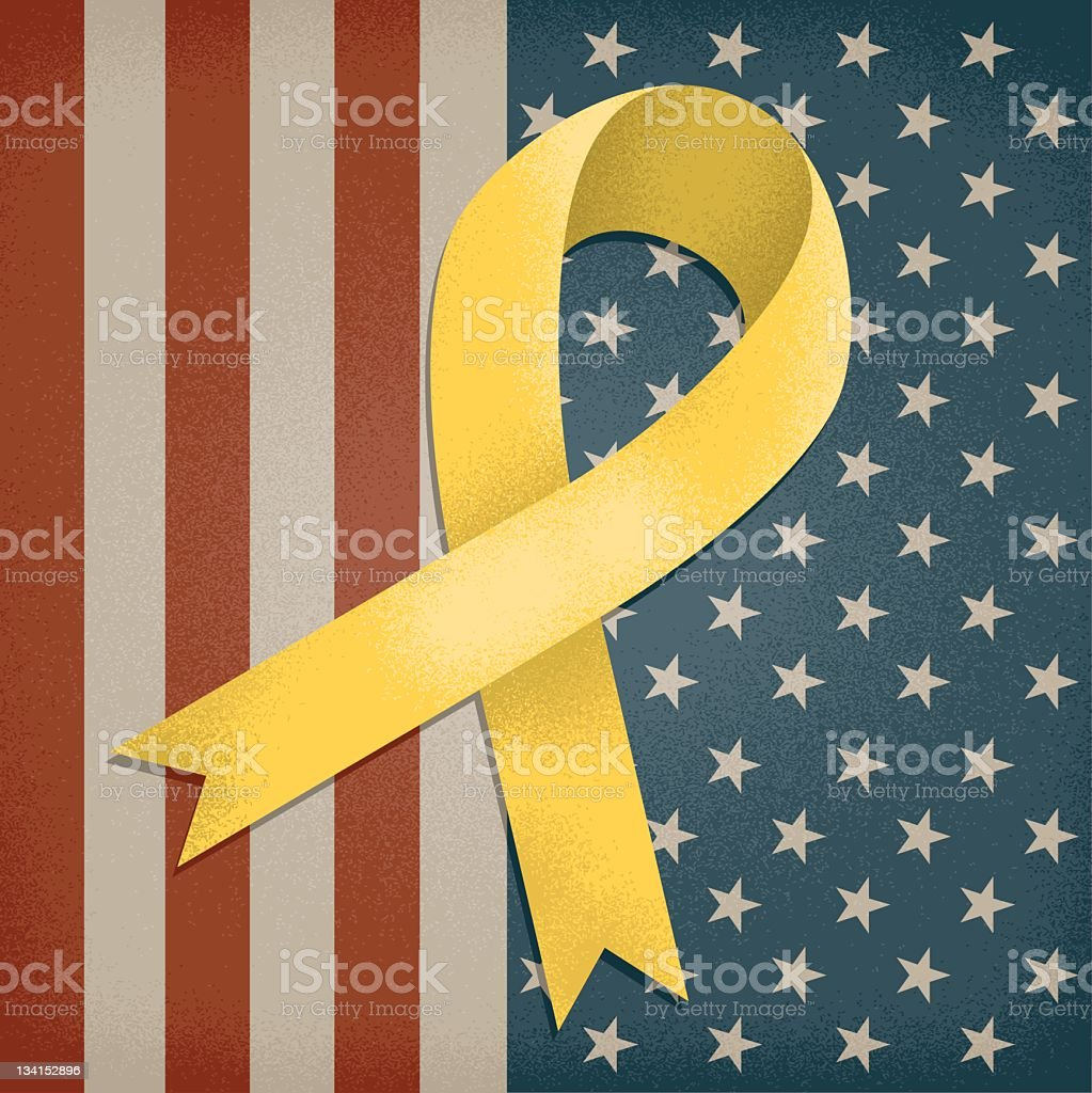 A yellow awareness ribbon on an American flag background stock photo