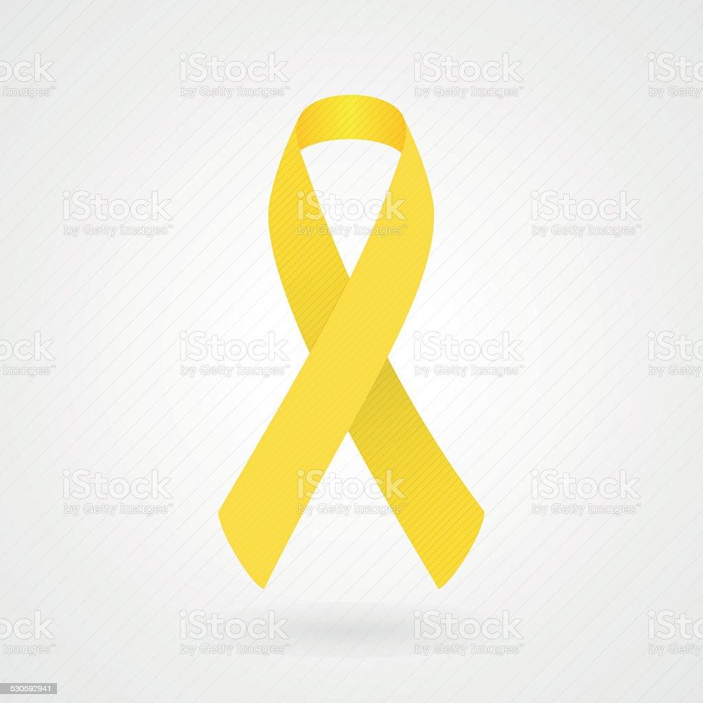 Yellow awareness ribbon vector art illustration