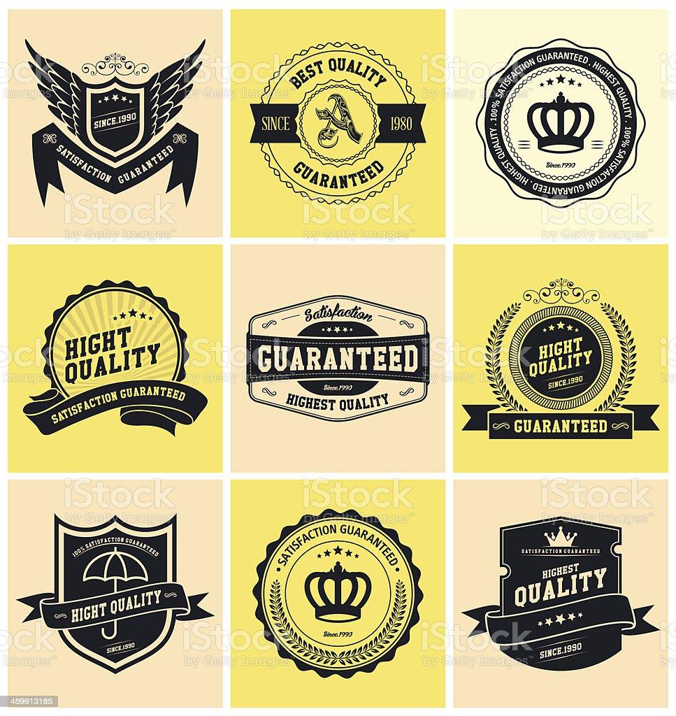 Yellow background square vintage labels vector art illustration