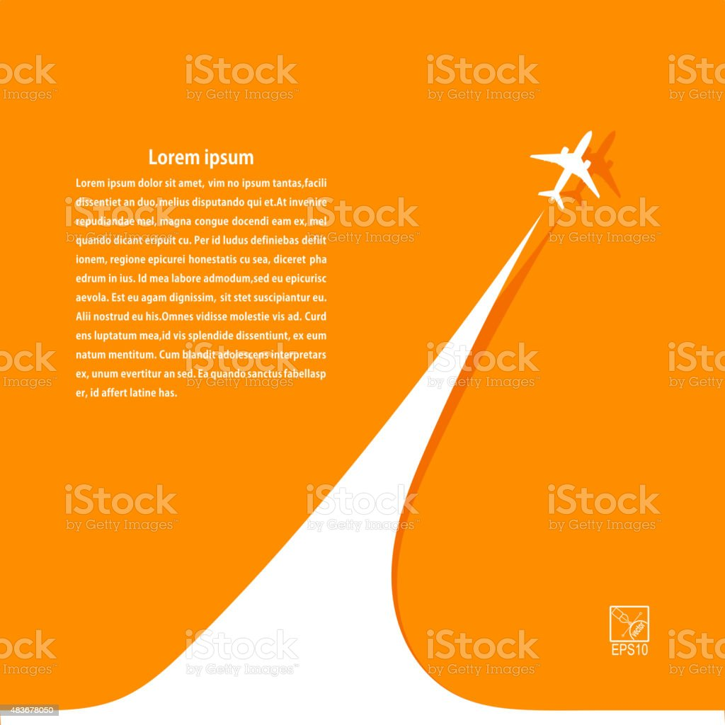 Yellow background with airplane and its tracks. Banner design vector art illustration