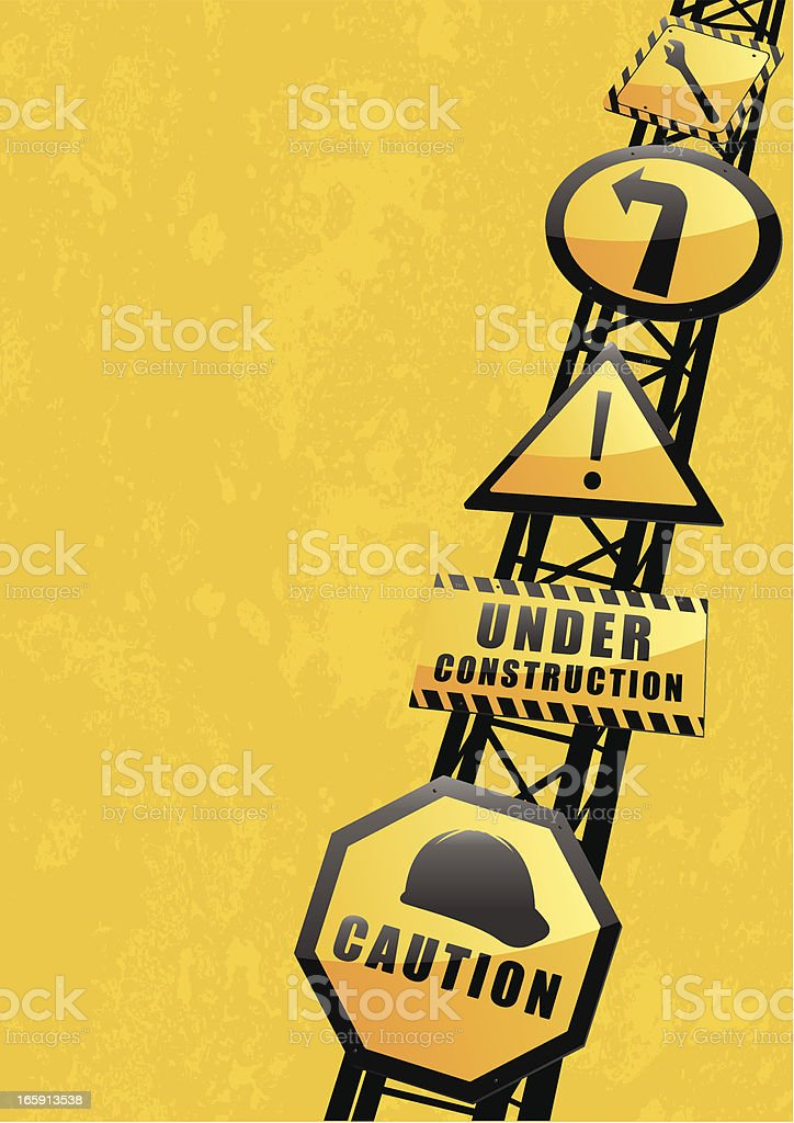 A yellow background with caution under construction signs royalty-free stock vector art