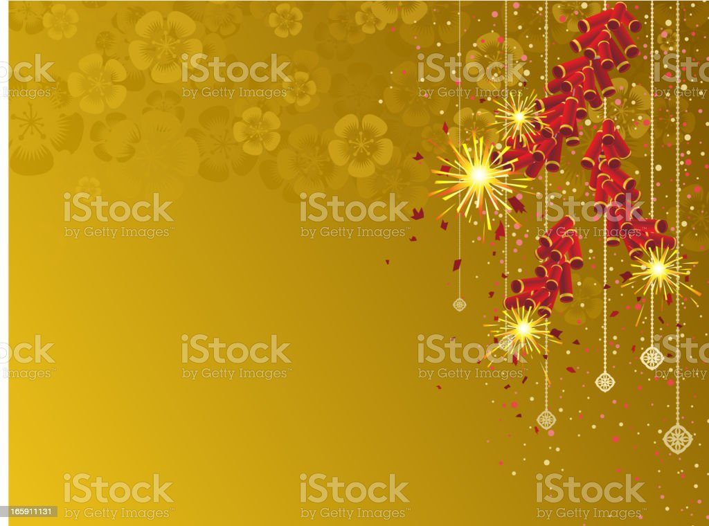 Yellow background with firecrackers royalty-free stock vector art