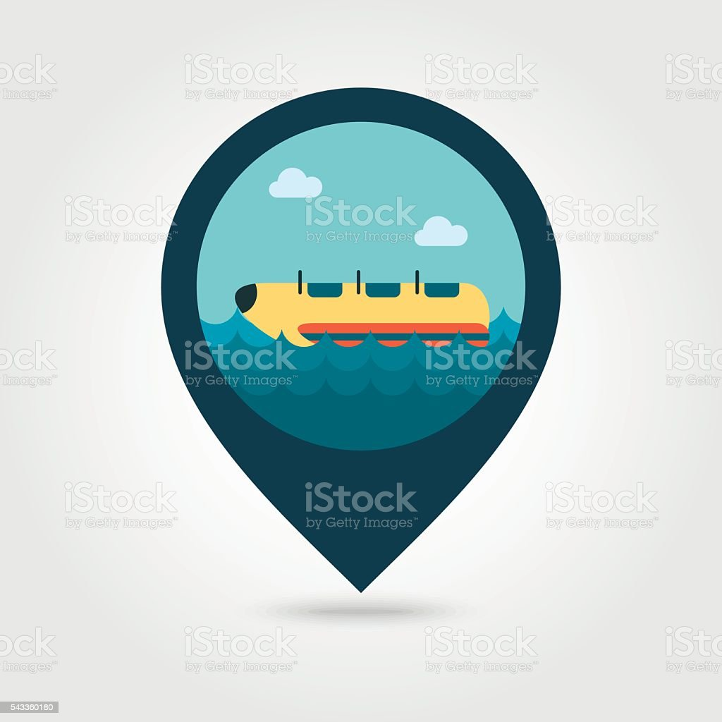 Yellow banana boat, ride pin map icon. Vacation vector art illustration