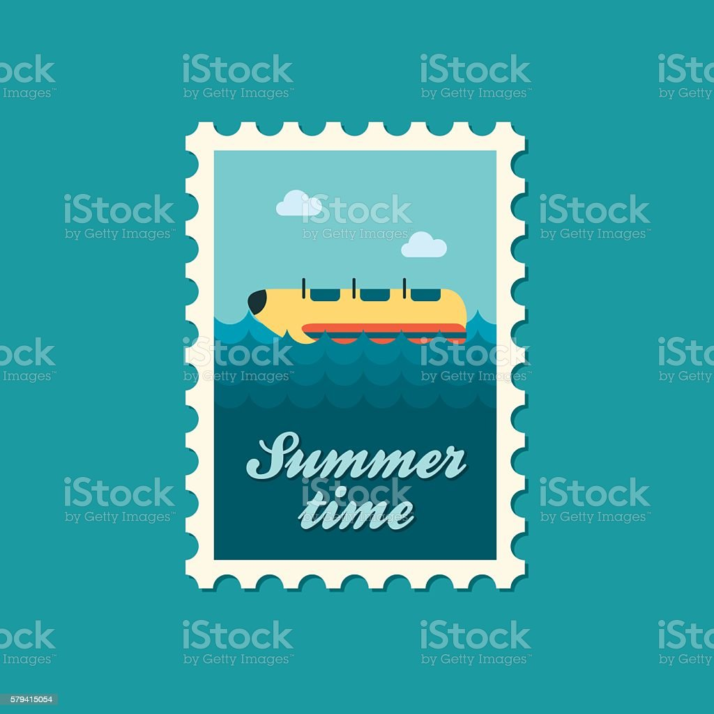Yellow banana boat, ride stamp. Summer. Vacation vector art illustration