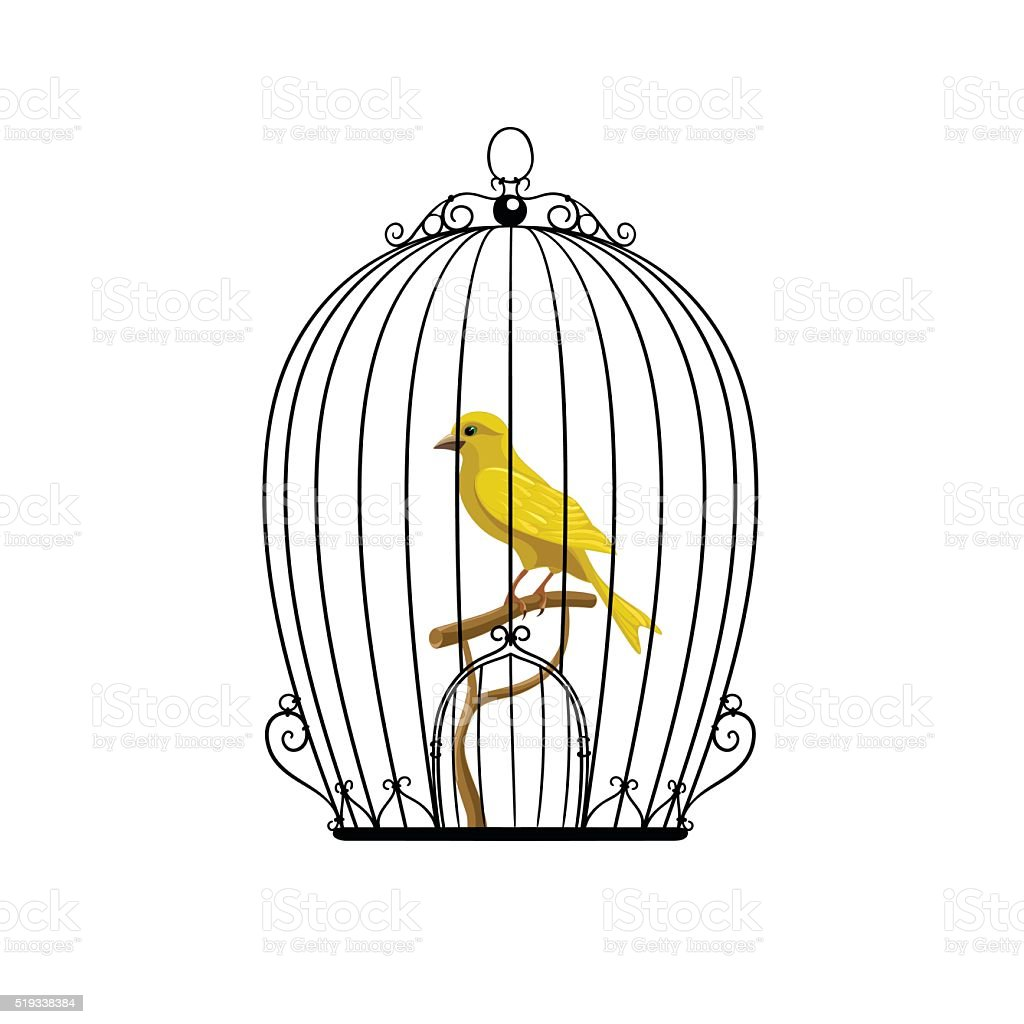 yellow bird in a black cage vector art illustration