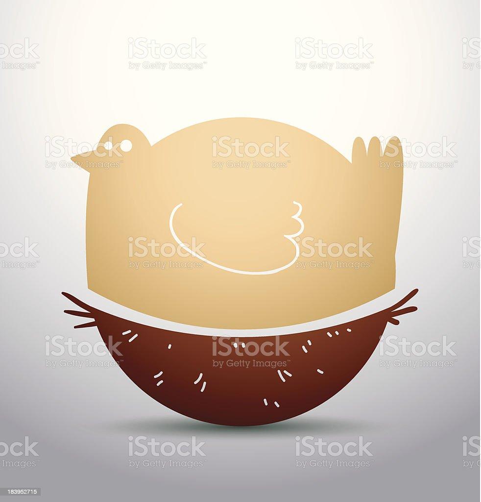 Yellow bird in the nest royalty-free stock vector art