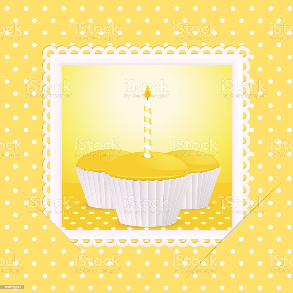 yellow birthday cupcake card royalty-free stock vector art