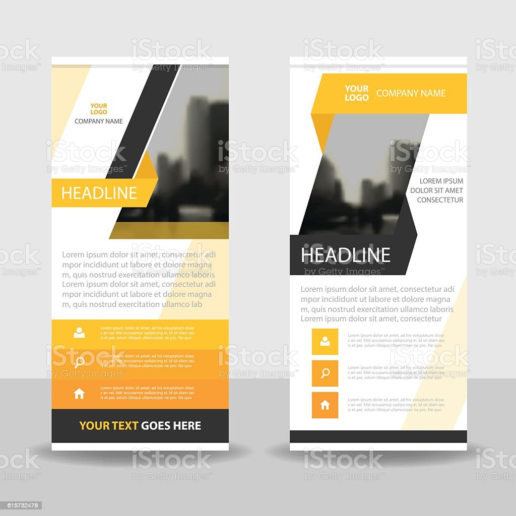 Yellow Black Abstract Business Roll Up Banner flat design template vector art illustration