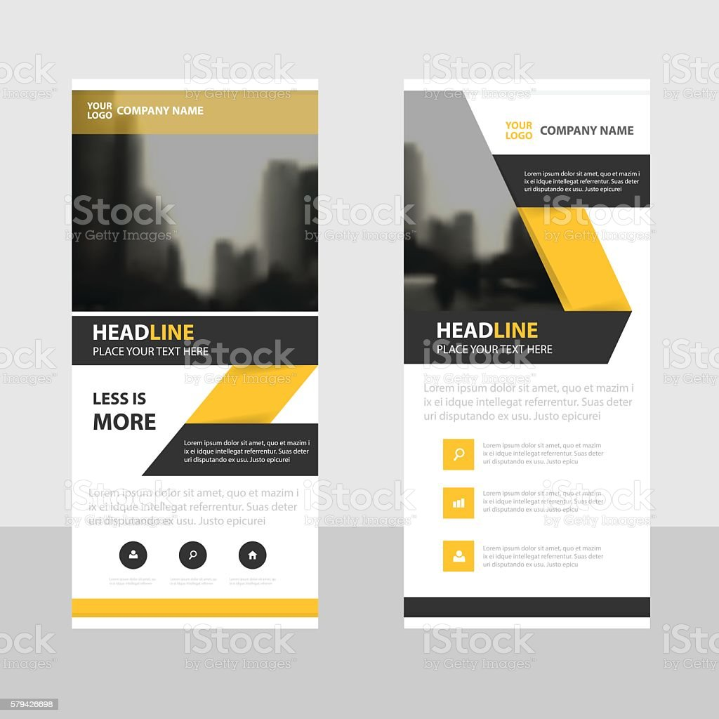 yellow black business roll up banner flat design template abstract yellow black business roll up banner flat design template abstract royalty stock vector