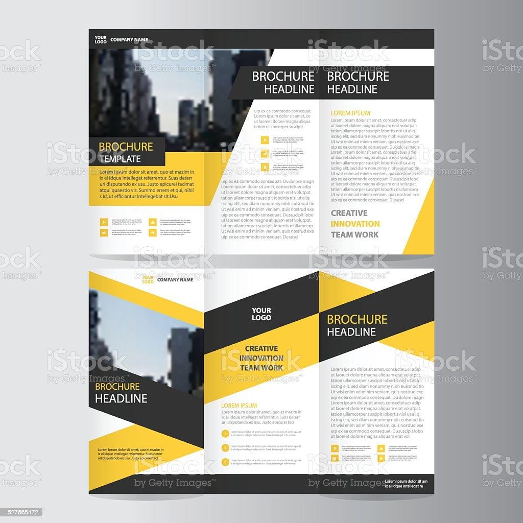 Yellow black business trifold business Leaflet Brochure Flyer template vector art illustration