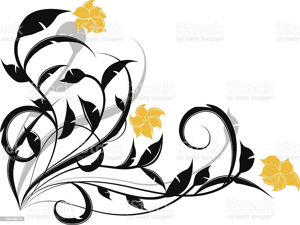 Yellow & Black Spring Embellishment royalty-free stock vector art