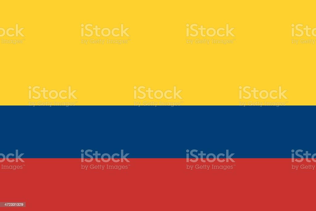 Yellow, blue, and red striped Colombian flag vector art illustration