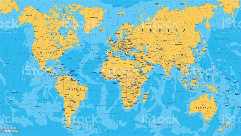 Yellow Blue World Map - borders, countries and cities - illustration vector art illustration