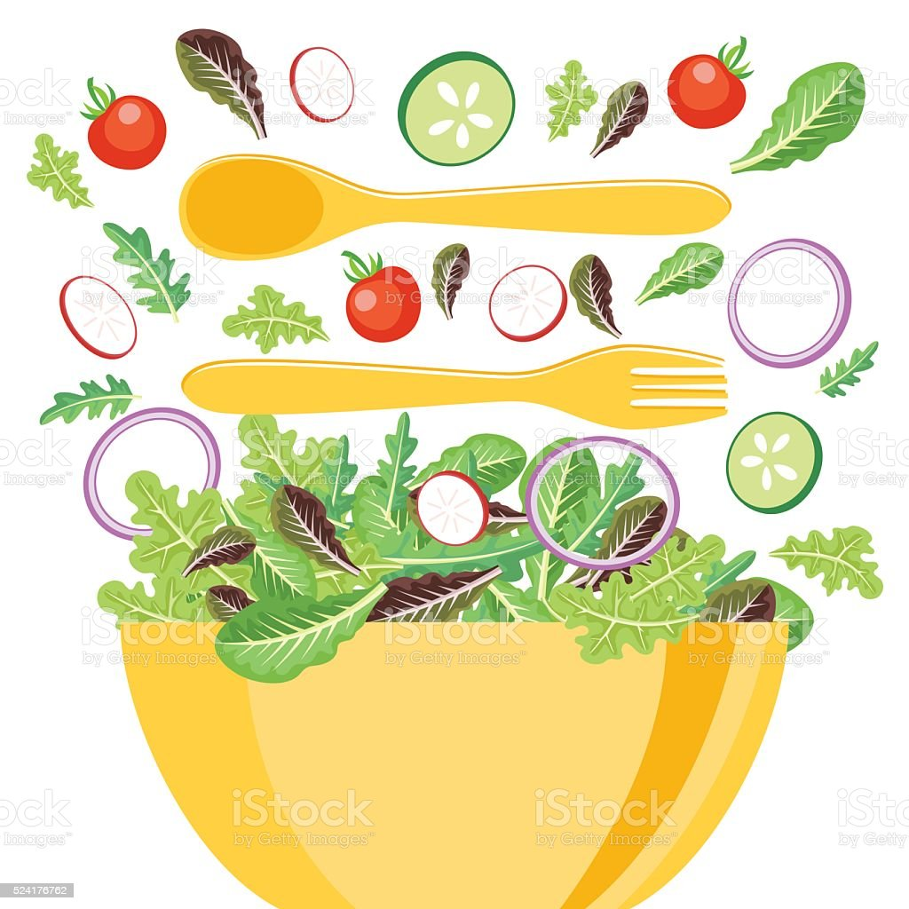 Yellow Bowl Of Salad With Flying Vegetables vector art illustration