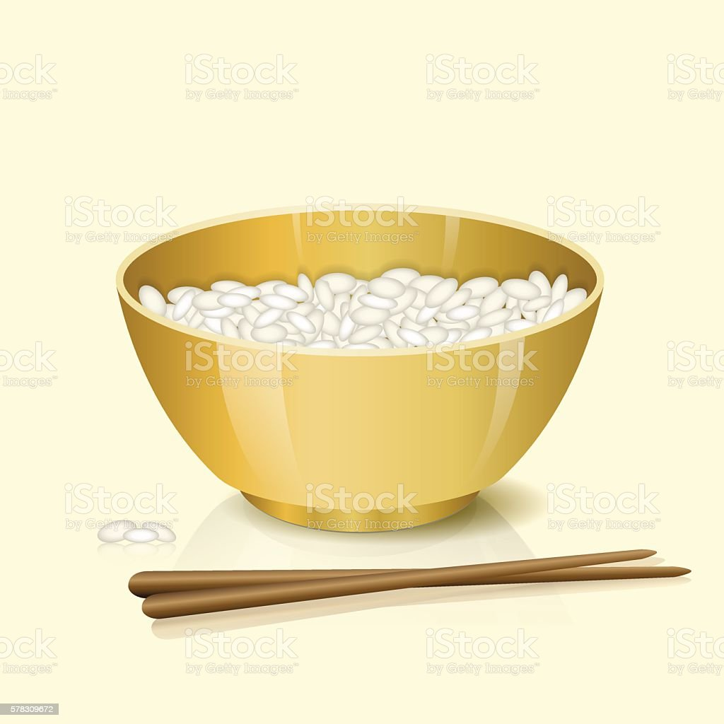 yellow bowl with rice and chopsticks vector art illustration