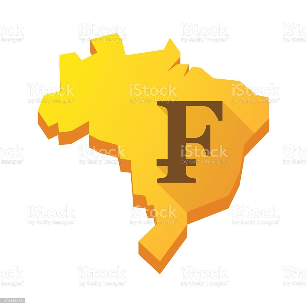 Yellow Brazil map with a swiss franc sign vector art illustration