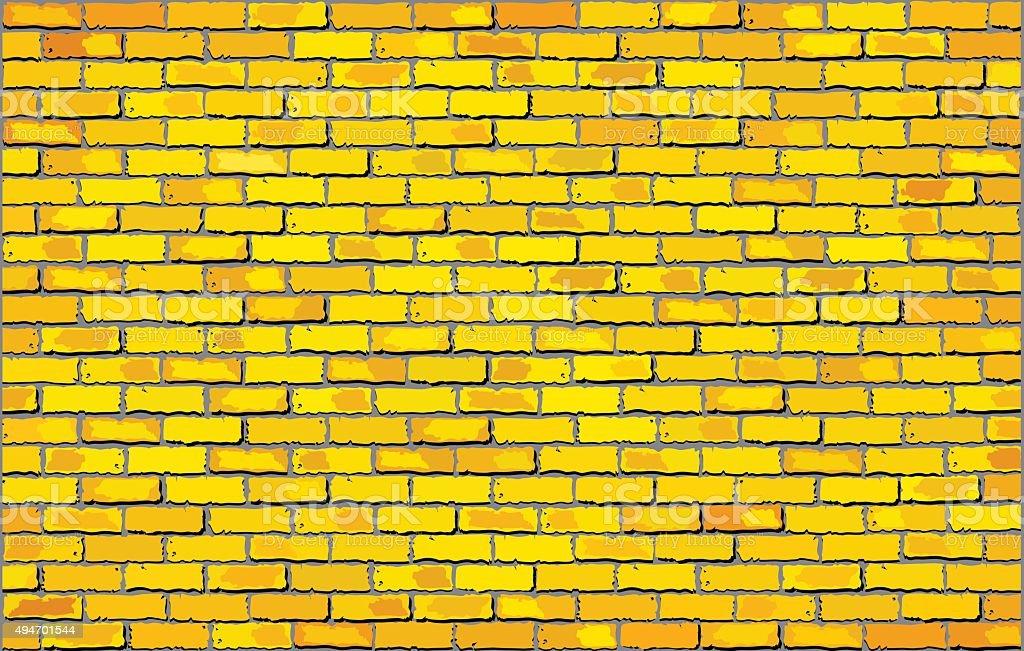 Yellow brick wall vector art illustration