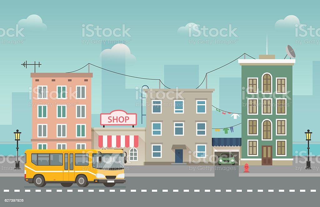 Yellow bus goes around small city with shops. Vector cityscape vector art illustration