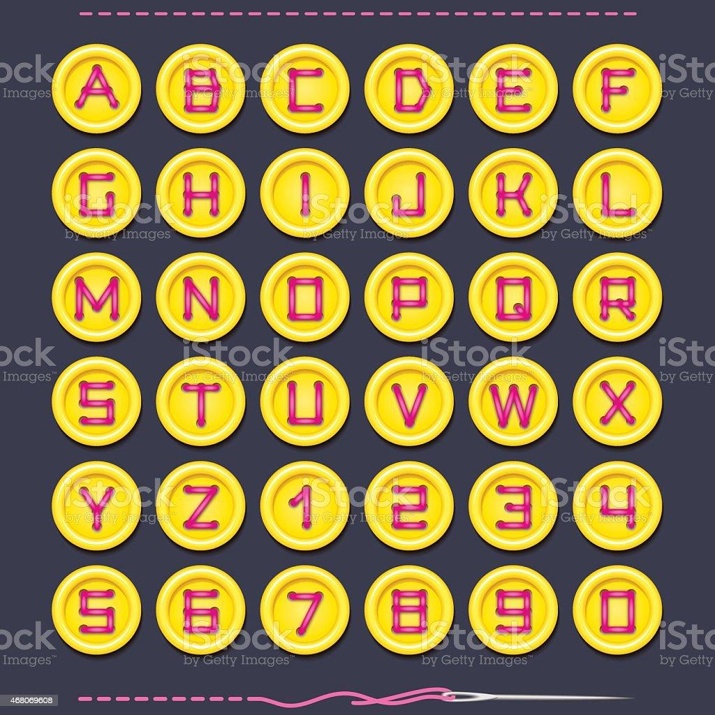 Yellow Button Font vector art illustration