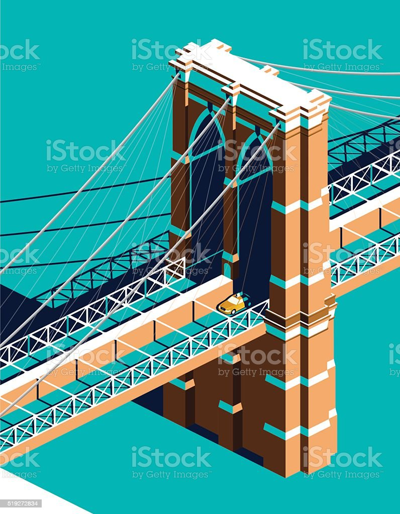 Yellow cab on Brooklyn Bridge isometric vector art illustration