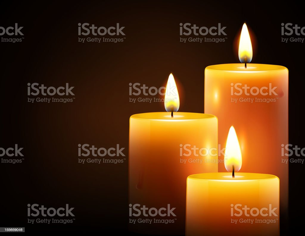 yellow candles vector art illustration