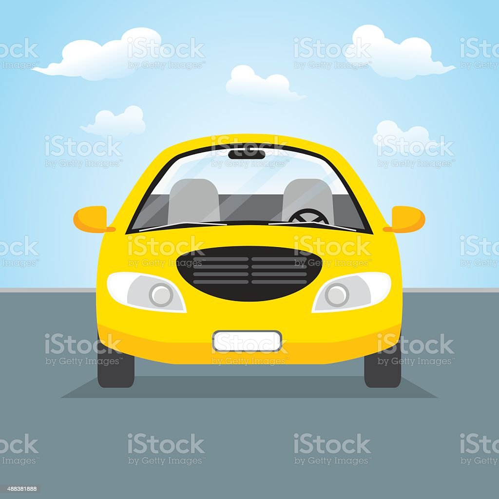 Yellow car. front view. vector art illustration