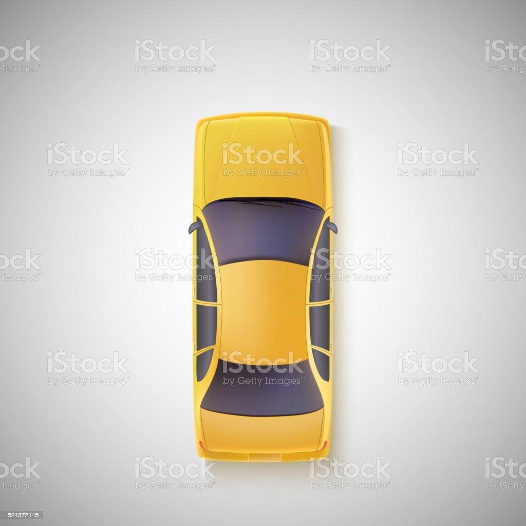 Yellow car, taxi. Top view. vector art illustration