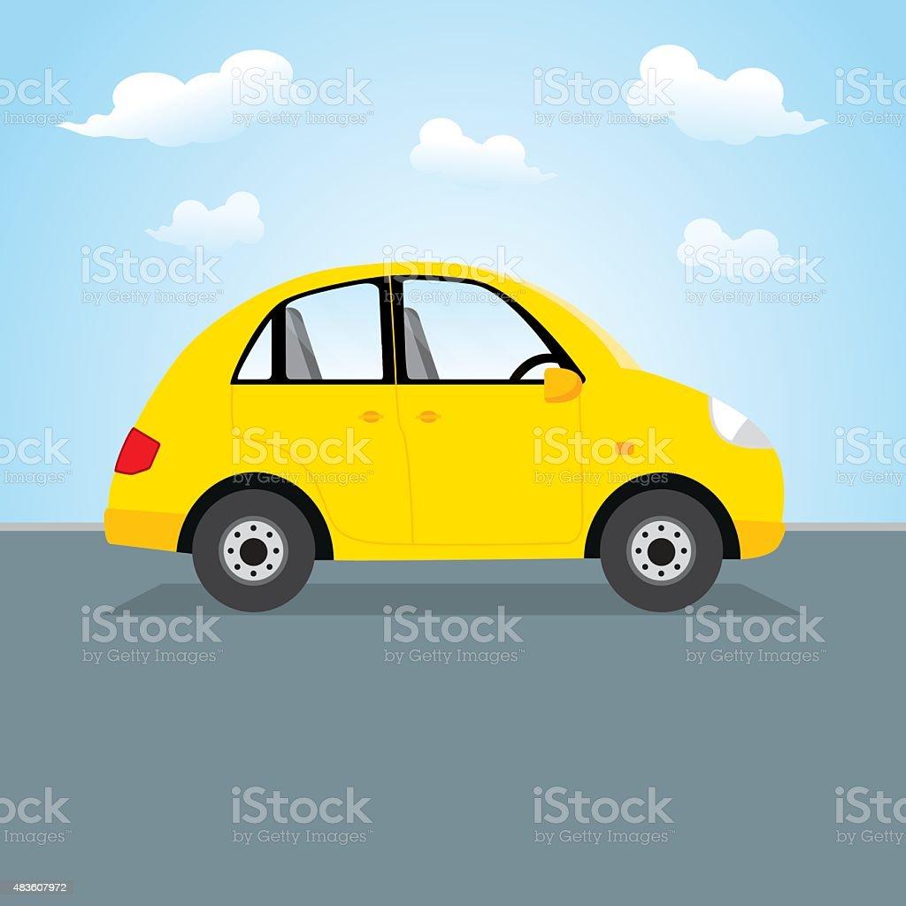 Yellow car vector art illustration