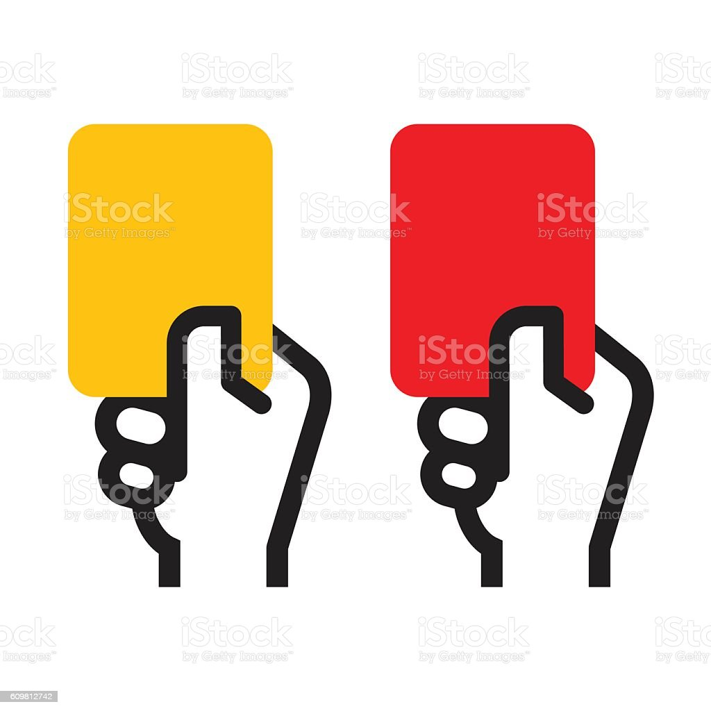 Yellow Card and Red Card vector art illustration